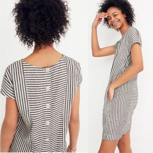 Madewell Stripe-Play Button-Back Tee Dress